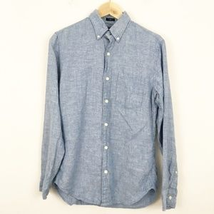 J Crew Chambray Slim Irish Linen Button Down Shirt